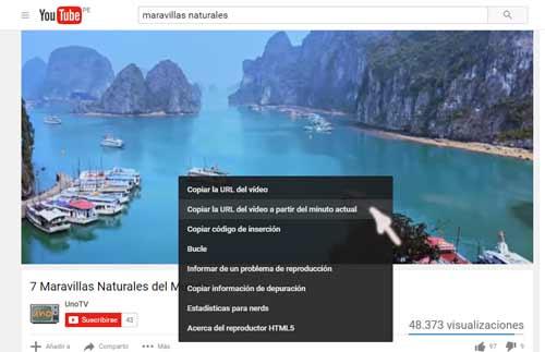 Compartir video de Youtube desde un punto determinado