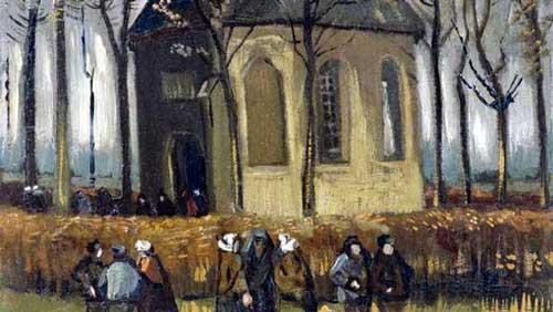 Feligreses saliendo de la Iglesia de Nuenen - Van Gogh