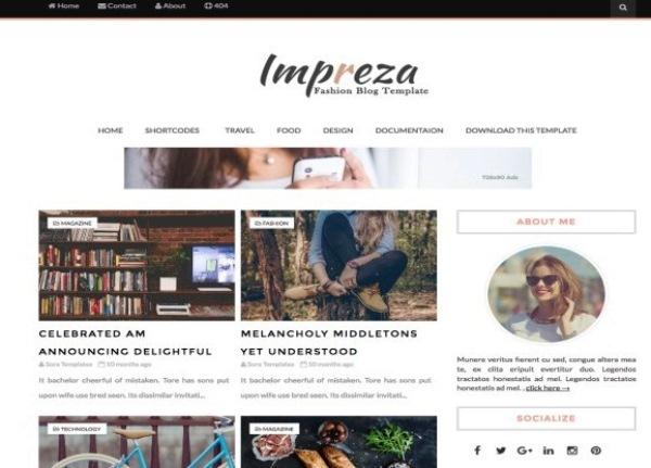 Plantilla Impreza Fashion para Blogger