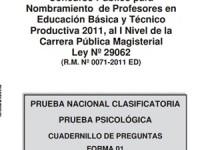 Cuadernillo de la Prueba nacional Clasificatoria para Nombramiento 2011