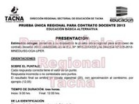 Prueba Única Regional para Contrato Docente 2013 - EBA
