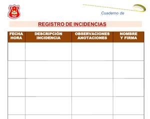 Cuaderno de Registro de Incidencias