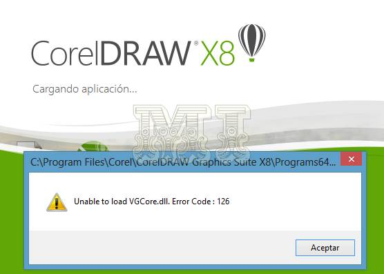 Corel Draw X8 Unable to load VGCore.dll Error Code