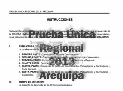 Prueba Única Regional 2013 Arequipa desarrollado