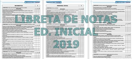 Libreta de notas 2019 Inicial