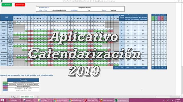 Aplicativo de calendarización 2019