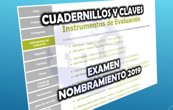 Cuadernillo examen nombramiento 2019
